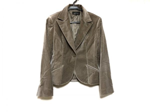 INDIVI(インディビ) ジャケット サイズ38 M レディース美品  ベージュ ベロア