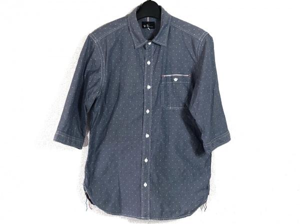 ザ ショップ ティーケー 七分袖シャツ サイズL メンズ ブルー×白 ドット柄
