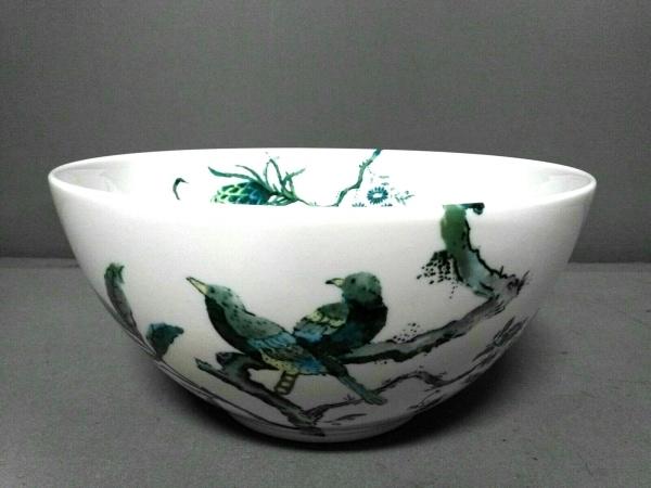ウェッジウッド 食器新品同様  JASPER CONRAN 白×グリーン×ブルー 花柄/ボウル 陶器