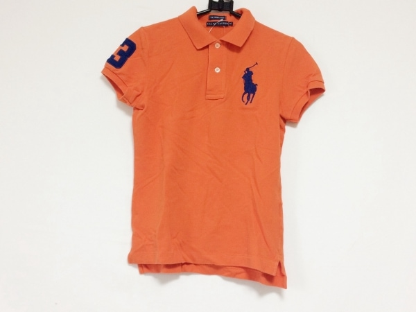 ラルフローレン 半袖ポロシャツ サイズM レディース ビッグポニー オレンジ×ネイビー