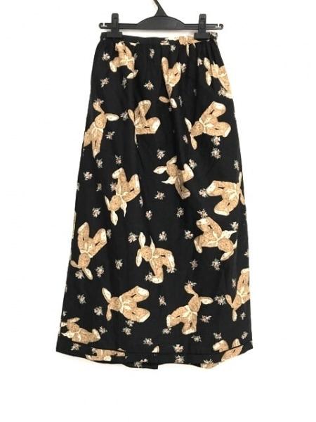 ピンクハウス ロングスカート レディース美品  黒×ブラウン×マルチ リボン