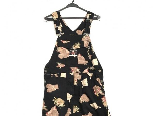 ピンクハウス ワンピース レディース美品  黒×ブラウン×マルチ サロペットスカート