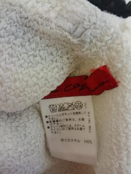 ノコオーノ カーディガン レディース 白×黒 シワ加工/フラワー/スパンコール