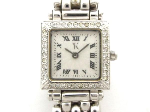 ユキコキミジマ 腕時計美品  YK-013LSW レディース ラインストーンベゼル 白