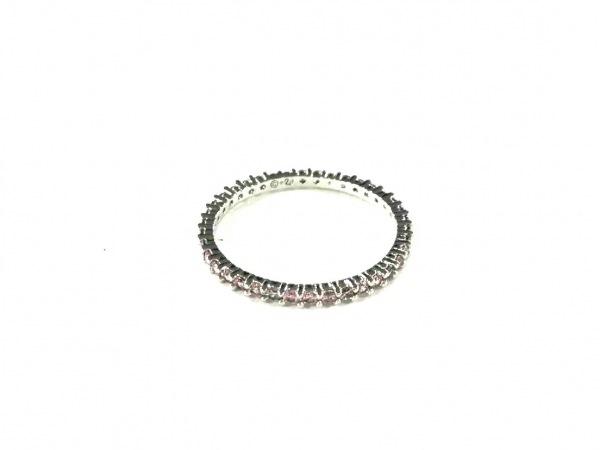 スワロフスキー リング美品  金属素材×スワロフスキークリスタル シルバー×ピンク