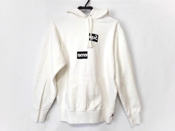 コムデギャルソンシャツ パーカー サイズS メンズ美品  白×黒 Supreme/2018