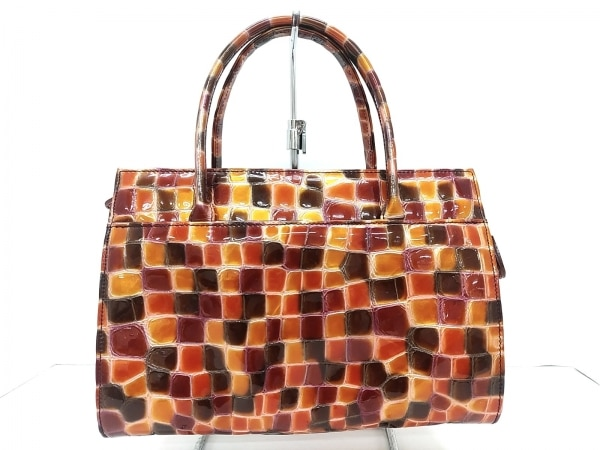 FRECCIA(フレッチャ) ハンドバッグ S美品  オレンジ×ボルドー×ダークブラウン