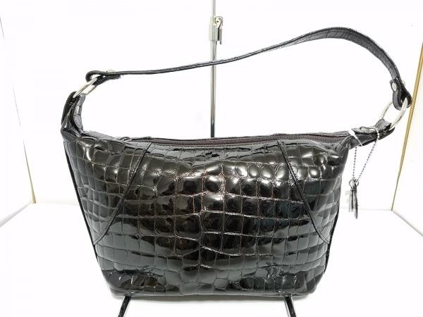FRECCIA(フレッチャ) ハンドバッグ 黒 クロコ型押し加工 エナメル(レザー)