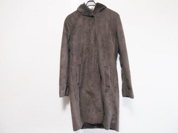 zelal(ゼラール) コート サイズ9 M レディース ダークブラウン 冬物/ファイクムートン