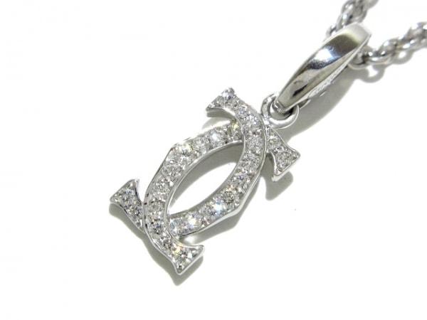 カルティエ ネックレス新品同様  2Cダイヤチャームネックレス K18WG×ダイヤモンド