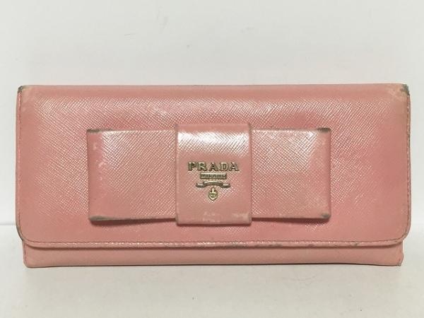 PRADA(プラダ) 長財布 - 1M1132 ピンク リボン レザー
