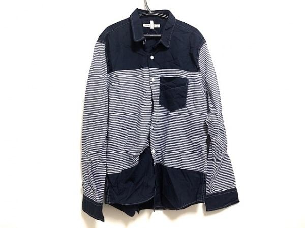 ガイジンメイド 長袖シャツ サイズS メンズ美品  ネイビー×白 ボーダー/変形デザイン