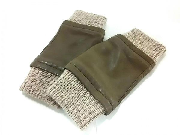 セルモネータグローブス 手袋 レディース美品  ブラウン×アイボリー 手袋