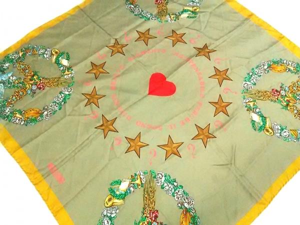 MOSCHINO(モスキーノ) スカーフ美品  ベージュ×イエロー×マルチ スター/花柄