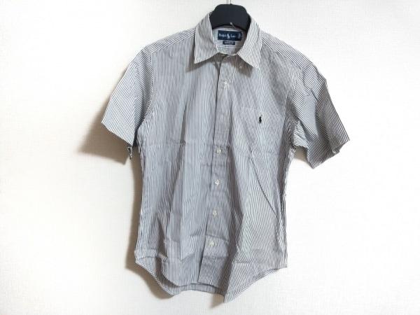 ラルフローレン 半袖シャツ サイズM メンズ 白×黒 CLASSIC FIT/ストライプ