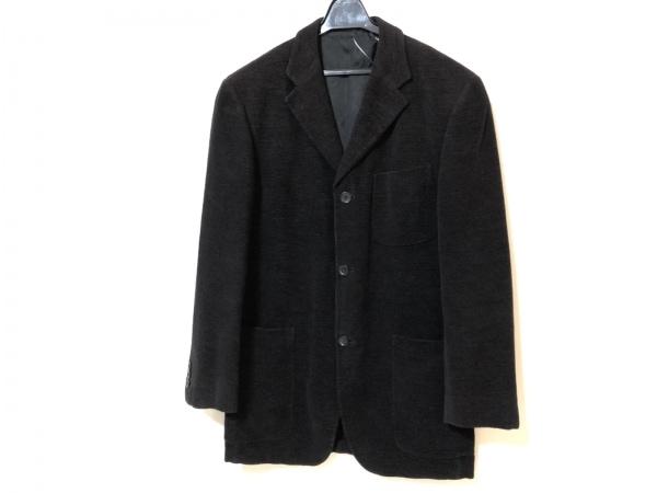 ErmenegildoZegna〜soft〜(ゼニア) ジャケット メンズ 黒×ブラウン ネーム刺繍