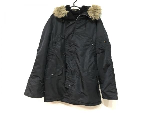 ALPHA INDUSTRIES(アルファ) コート サイズL メンズ 黒 ジップアップ/冬物