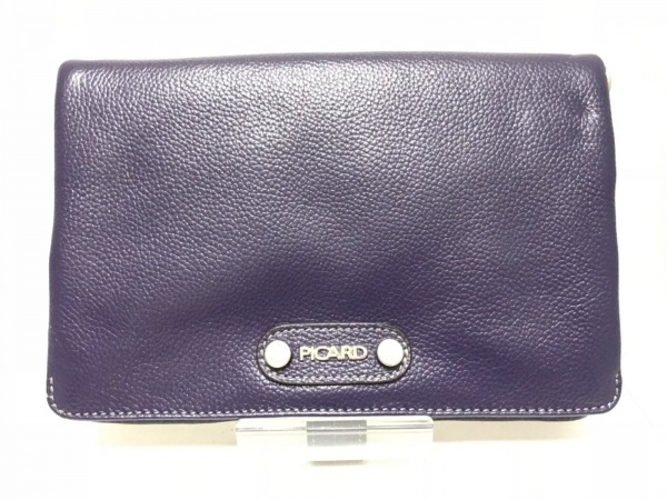 PICARD(ピカード) 財布美品  ネイビー ショルダーウォレット レザー