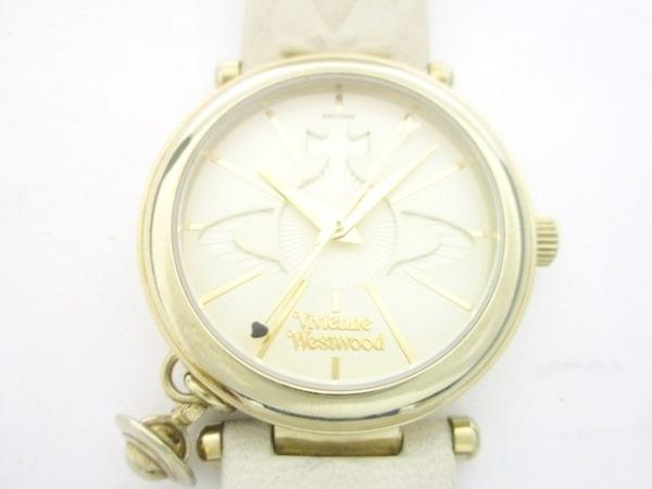 ヴィヴィアン 腕時計 VV006WHWH レディース 革ベルト/型押し加工/オーブ アイボリー