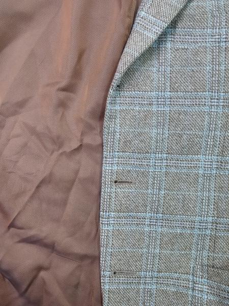 ポールスチュアート ジャケット メンズ ブラウン×ブルー×白 チェック柄/ネーム刺繍