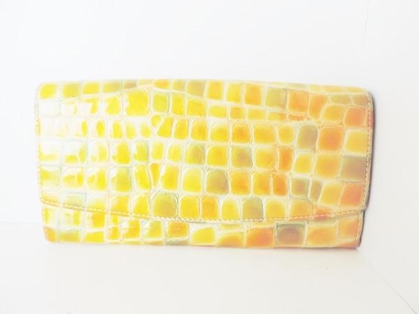 COCCO FIORE(コッコフィオーレ) 長財布 オレンジ×ライトグリーン エナメル(レザー)