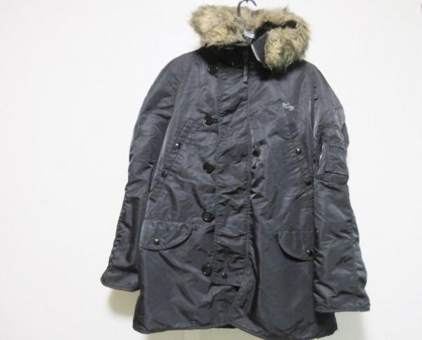 ALPHA INDUSTRIES(アルファ) ダウンコート サイズM メンズ 黒 冬物/フェイクファー