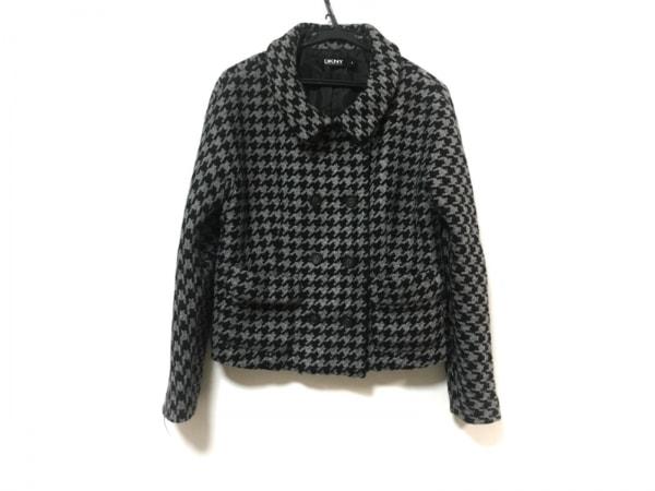 DKNY(ダナキャラン) コート サイズ4 XL レディース 黒×グレー ショート丈/千鳥格子
