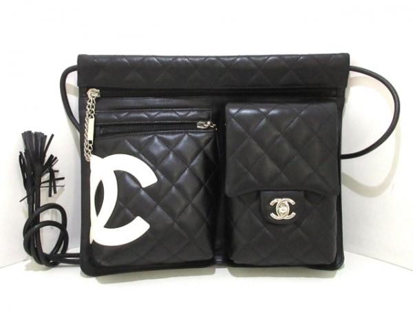 CHANEL(シャネル) ショルダーバッグ美品  カンボンライン A28125 黒×白 レザー