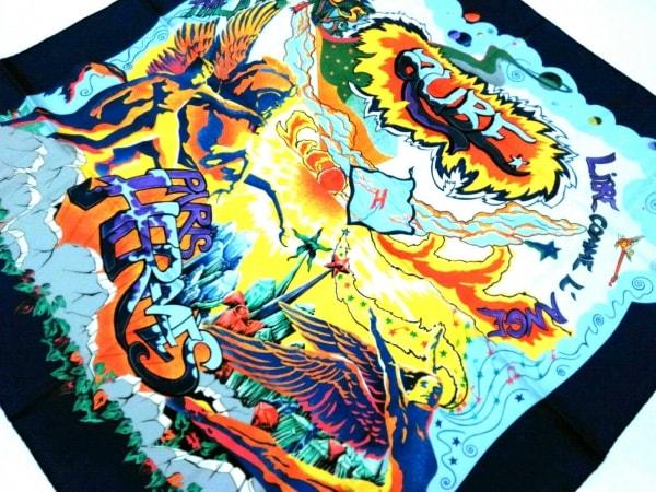 HERMES(エルメス) スカーフ美品  カレ ネイビー×マルチ