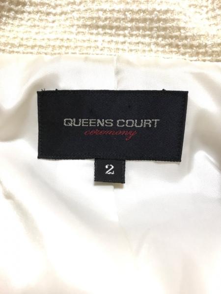 クイーンズコート スカートスーツ サイズ2 M レディース アイボリー ラメ