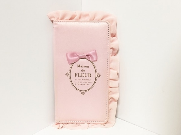 メゾンドフルール 携帯電話ケース ピンク iPhoneケース/ミラー付き/リボン/フリル