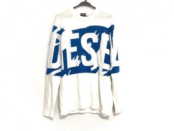 DIESEL(ディーゼル) 長袖セーター サイズS メンズ美品  白×ブルー