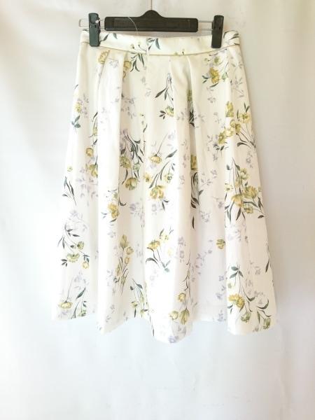 アプワイザーリッシェ スカート サイズ2 M レディース 白×イエロー×マルチ 花柄