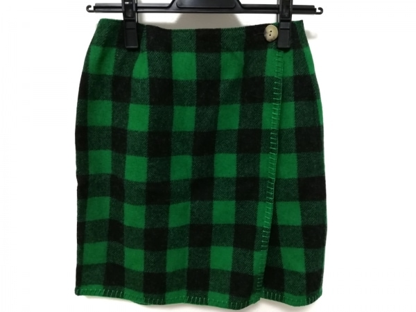 ラルフローレン カントリー 巻きスカート サイズ7 S レディース美品  グリーン×黒