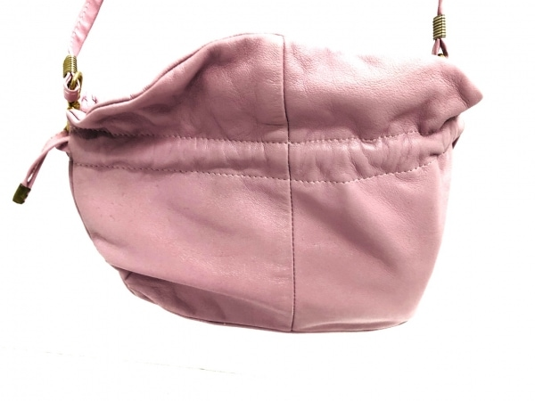 LA BAGAGERIE(ラバガジェリー) ショルダーバッグ ピンク 巾着タイプ レザー