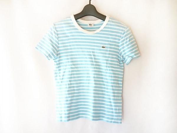 Lacoste(ラコステ) 半袖Tシャツ サイズ40 M レディース ライトブルー×白 ボーダー