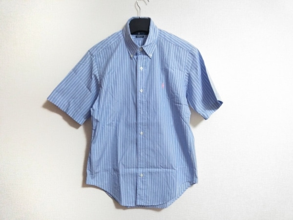 RalphLauren(ラルフローレン) 半袖シャツ サイズM メンズ ライトブルー×アイボリー