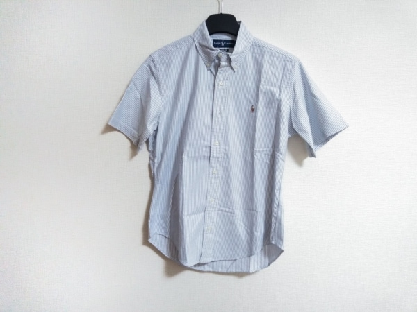 ラルフローレン 半袖シャツ サイズM メンズ 白×ライトブルー CLASSIC FIT/ストライプ