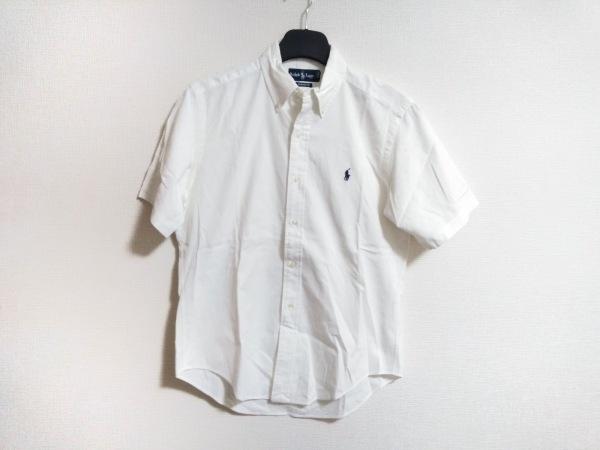 RalphLauren(ラルフローレン) 半袖シャツ サイズM メンズ 白 CLASSIC FIT/ストライプ