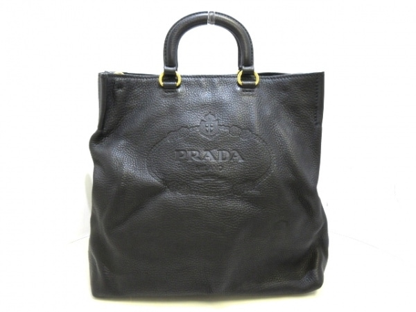 PRADA(プラダ) トートバッグ - 黒 革タグ レザー