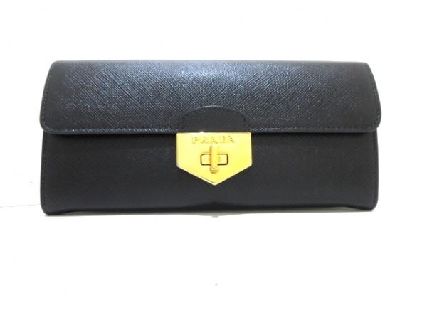 PRADA(プラダ) 長財布美品  - 1MH037 黒 サフィアーノレザー