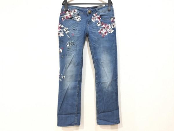 デシグアル ジーンズ サイズ28 L レディース新品同様  ブルー×ピンク×白 花柄