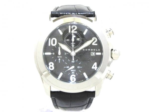 マーベルティーム 腕時計 ボンボロ メンズ 型押し革ベルト/クロノグラフ 黒