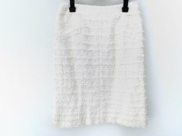 CHANEL(シャネル) スカート レディース美品  アイボリー ツイード/スパンコール