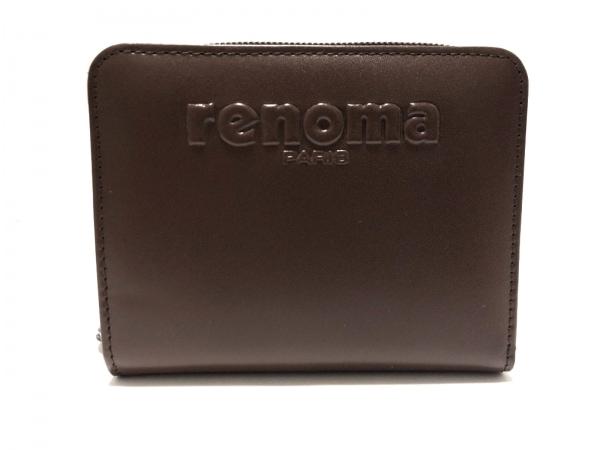 RENOMA(レノマ) 2つ折り財布美品  ダークブラウン ラウンドファスナー レザー