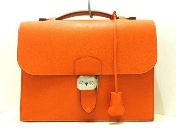 HERMES(エルメス) ビジネスバッグ サックアデペッシュ27 オレンジ シルバー金具