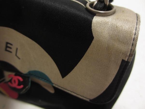 シャネル ショルダーバッグ - 黒×グレー×マルチ チェーンショルダー/シルバー金具