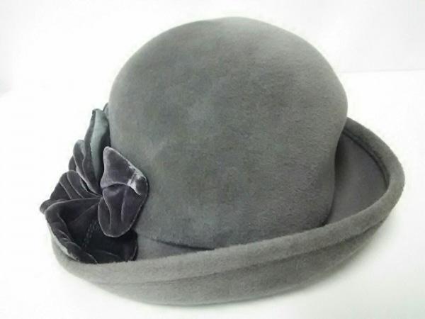 VOGUE(ヴォーグ) 帽子美品  グレー×ダークグレー 化学繊維