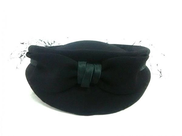 VOGUE(ヴォーグ) 帽子 黒 リボン 化学繊維×サテン