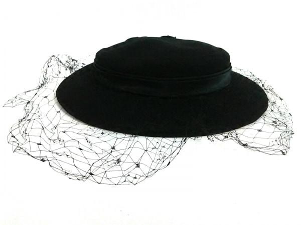 VOGUE(ヴォーグ) 帽子美品  黒 ビーズ 化学繊維×サテン